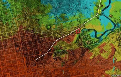 標高図×1948年空中写真 東区ナナメ通り