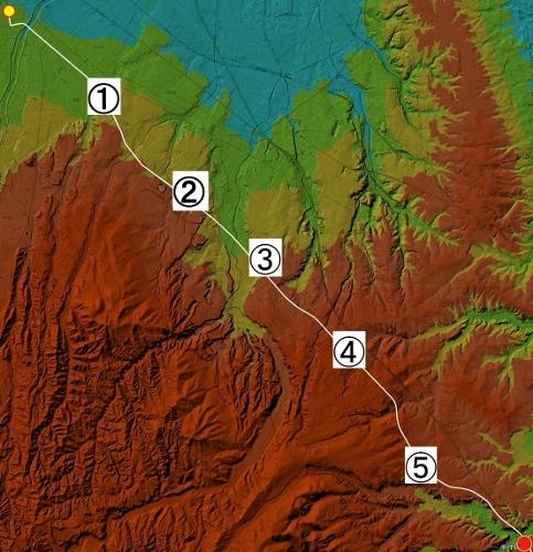 色別標高図 標高20m未満から20mごと7色 札幌本道 里程
