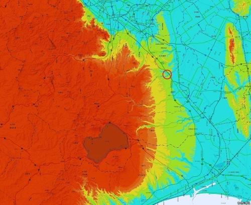 標高図 島松 広域 標高50m未満から50mごと7色
