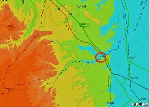 標高図 島松周辺 標高50m未満から50mごと7色