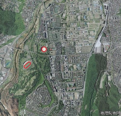 空中写真 真駒内公園 2008年 競技場 軸線