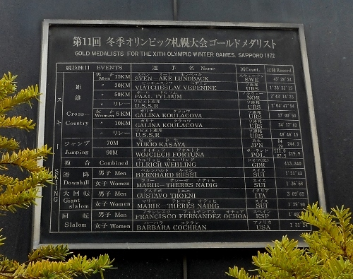 札幌オリンピック記念時計塔 銘鈑 金メダル選手 スキー
