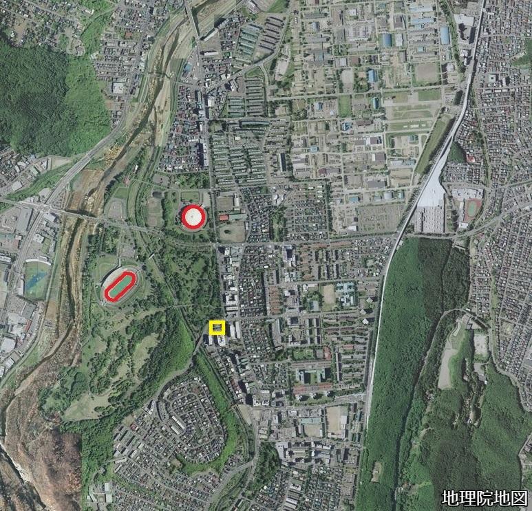 空中写真2008年 真駒内 札幌五輪「オーストリア館」の推定所在地