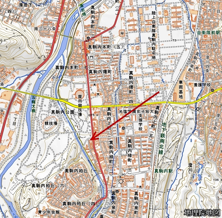 現在図 真駒内 札幌五輪「オーストリア館」の推定所在地