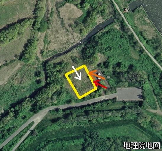 空中写真 2008年 手稲山口バッタ塚 画像撮影位置、向き
