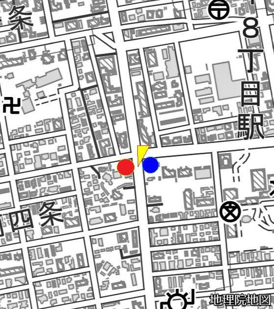 現在図 市道西19丁目線 南4条西18丁目、南4条西19丁目