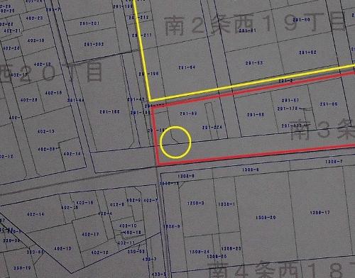 札幌市地番図 2018年 南3条西18丁目あたり 拡大