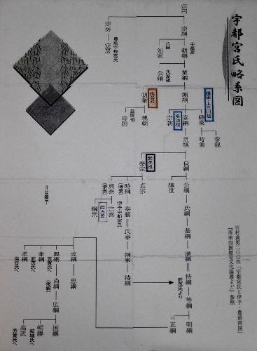宇都宮城址公園清明館歴史展示室 展示「宇都宮氏略系図」