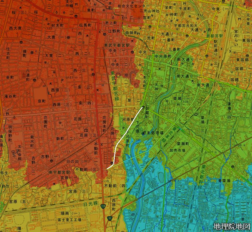 色別標高図 宇都宮 旧鎌倉街道 標高105m未満から5mごと7色