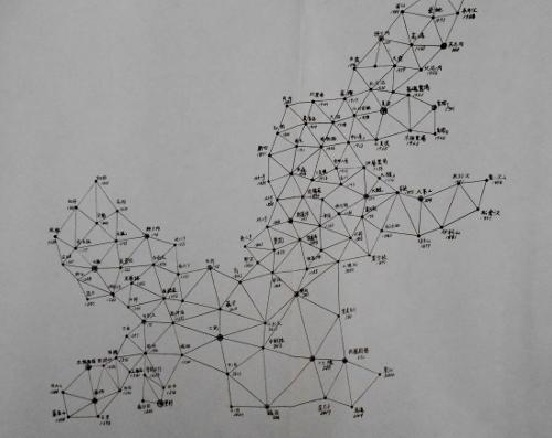 石狩川水系三角網図(一部)
