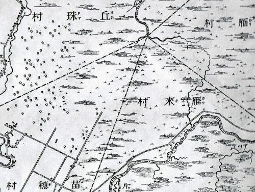 明治29年地形図  丘珠村、苗穂村、雁来村、対雁村 村界