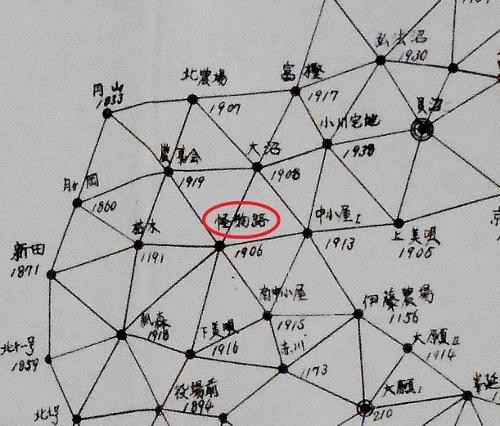 石狩川水系三角網図 三角点「怪物路」あたり抜粋-2