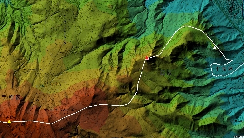 色別標高図 手稲山 手稲区・西区境界線