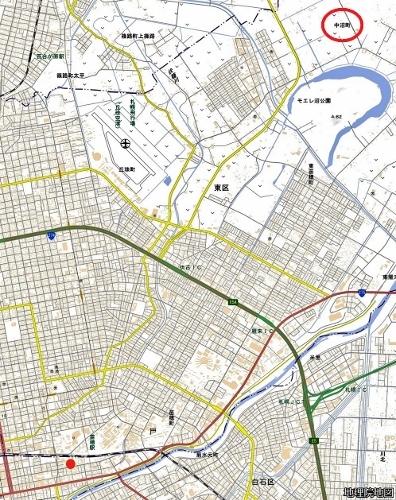 現在図 「中沼幹」の所在地と「中沼町」の位置