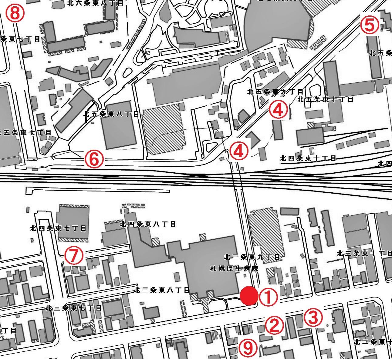 現在図 北3東9 「中沼幹」周辺