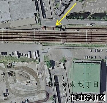 空中写真2008年×現在図レイヤー 東8丁目アンダーパス