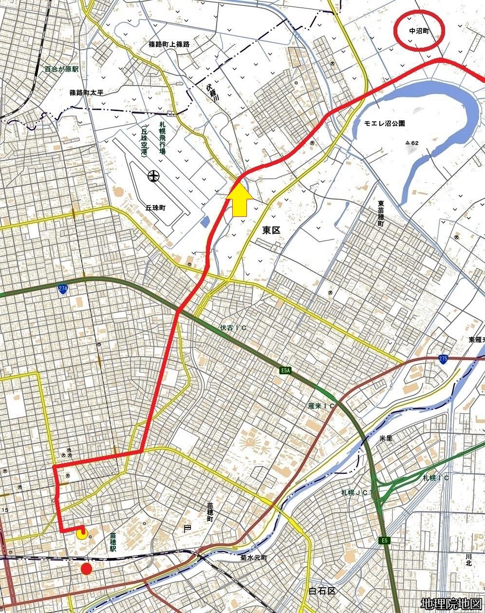 現在図 電柱「中沼幹」 中沼方面バス路線、中沼町
