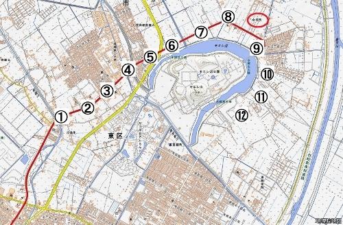 現在図 東区モエレ沼周辺 中央バス「丘珠線」沿線