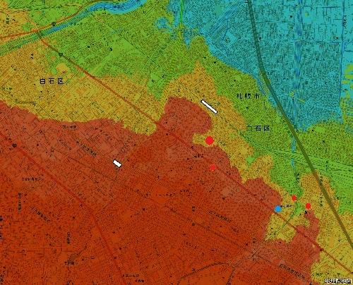 色別標高図 10m未満から5mごと7色 白石本通周辺