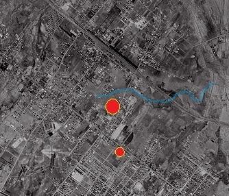 空中写真1961年 白石本通周辺 拡大 河道加筆