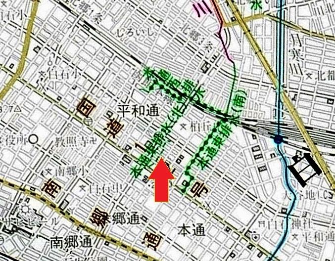 河川網図 本通東排水(北)