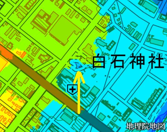 色別標高図 白石神社 湧泉