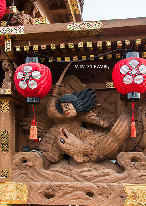 日置天神社 だんじり 彫刻 鷹