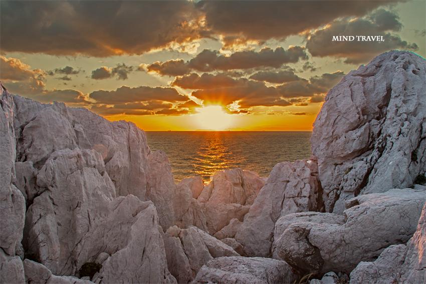 白崎海岸 夕日