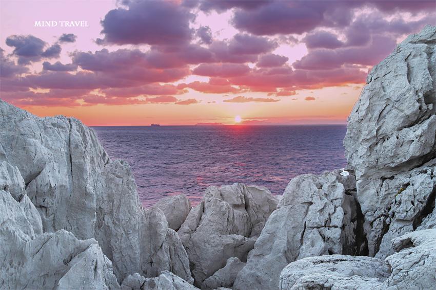 白崎海岸 夕日2