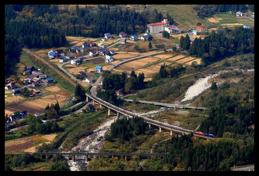 越後中里俯瞰カシオペア松川橋梁