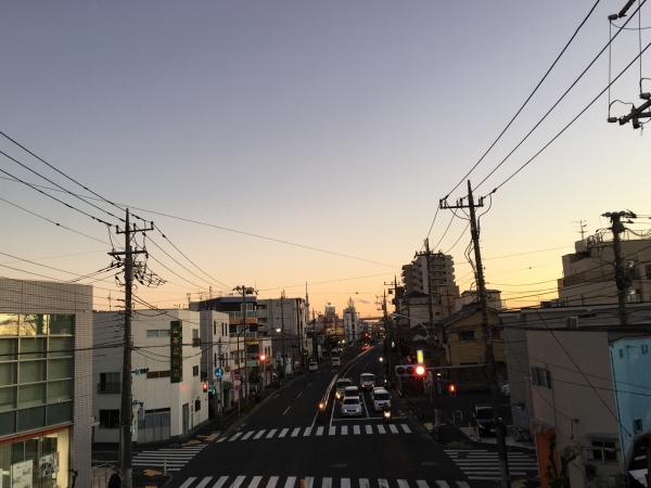 道も夕焼け
