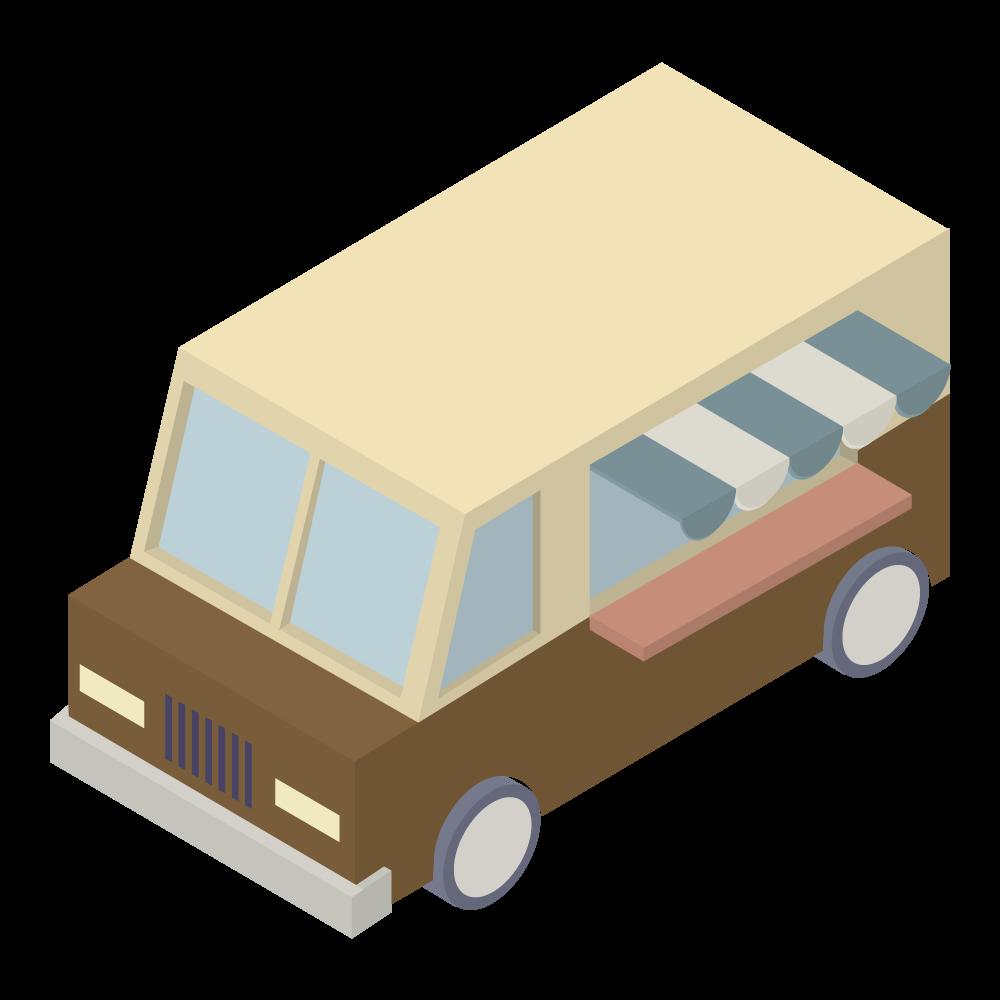 かわいいおしゃれなアイソメトリックの屋台の車アイコン