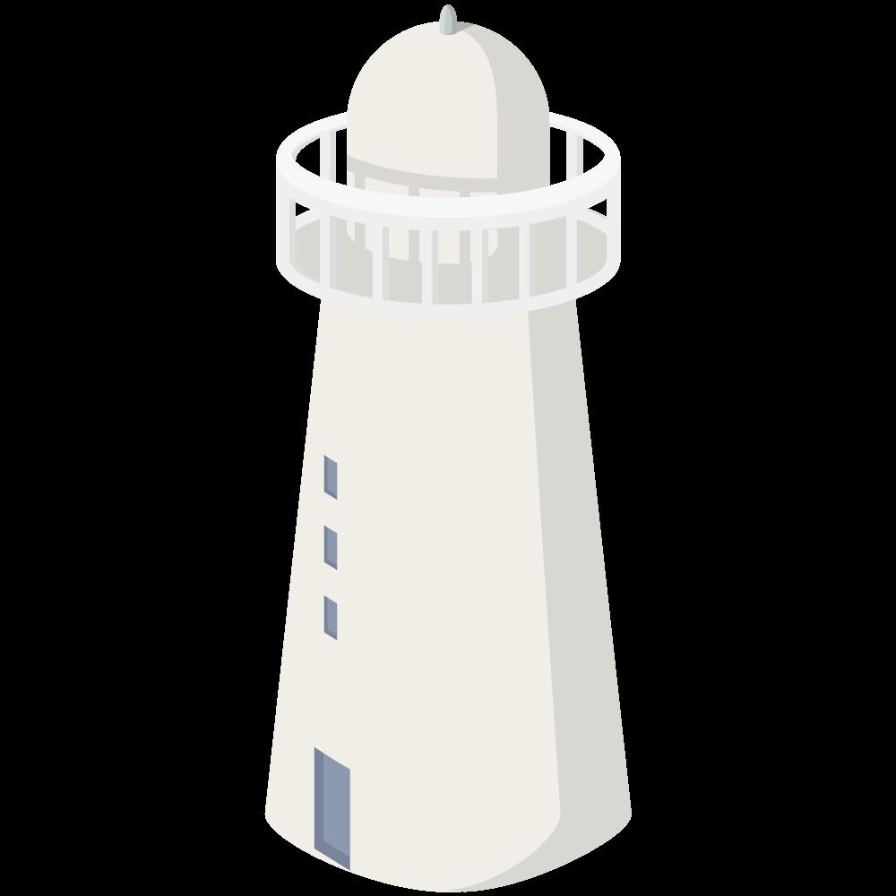 かわいいおしゃれなアイソメトリックの灯台アイコン