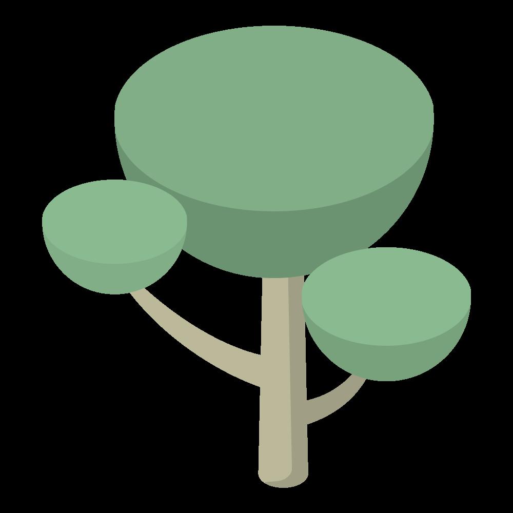 かわいいおしゃれなアイソメトリックな樹木のイラスト