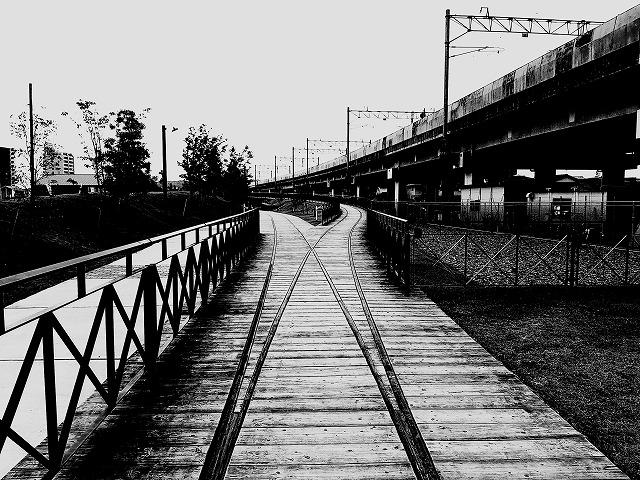 旧線路と高架線