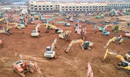 武漢市蔡甸区の新型コロナウイルス肺炎専門病院の建設現場