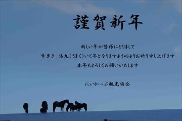 平間るり子様提供_牧草地と馬の写真(謹賀新年挨拶用)_R