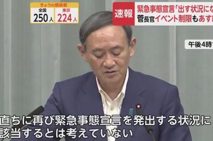 菅官房長官 「医療提供体制が逼迫している状況では無く、再び緊急事態宣言を発出する状況に該当するとは考えていない」