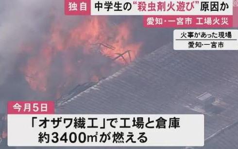 愛知県の中学生、繊維加工工場のパレットにできた蜂の巣を焼くために殺虫剤で火炎放射→ 工場に燃え広がり3400平方mを焼く … 工場の社長「子供のやった事で諦めるしかないけど悔しい」
