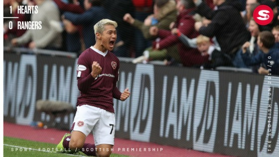 Hearts 1-0 Rangers Ryotaro Meshino goal