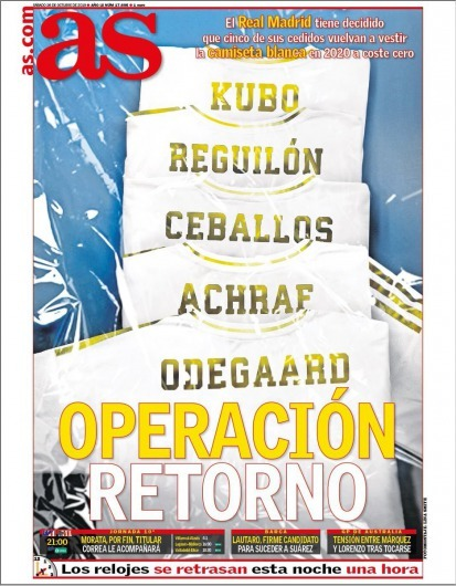 Real Madrid has decided that 5 of their loanees will return in 2020 to wear the White shirt at zero cost