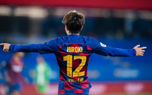 Abe Hiroki scored his first official goal with the Barcelona shirt