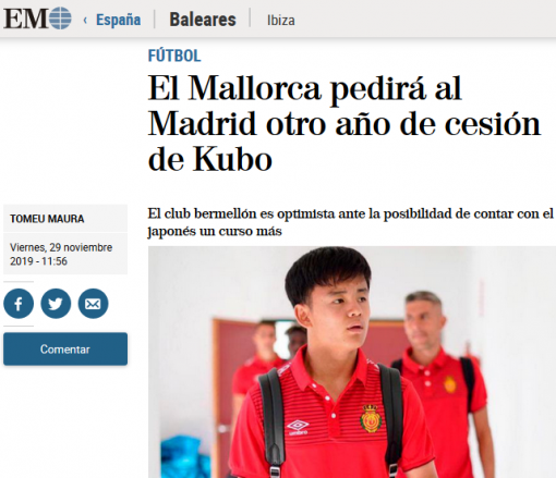 Mallorca to ask Madrid for an extension on Kubo loan