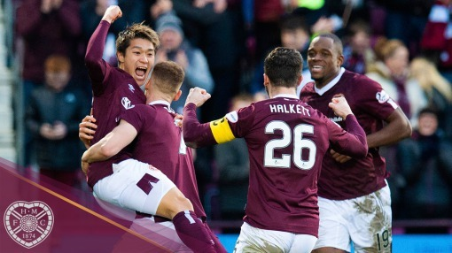 Meshino celebrates putting Hearts in front against Aberdeen
