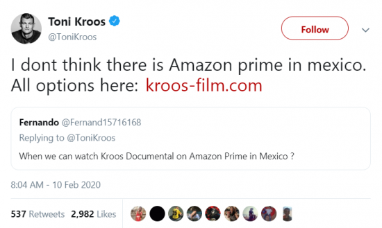 Kroos doesnt think there is Amazon prime in mexico