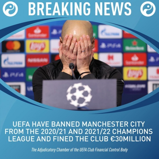 Manchester City banned from Champions League for two seasons over FFP