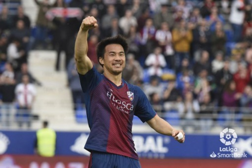 2 goals from Shinji Okazaki as Huesca draw