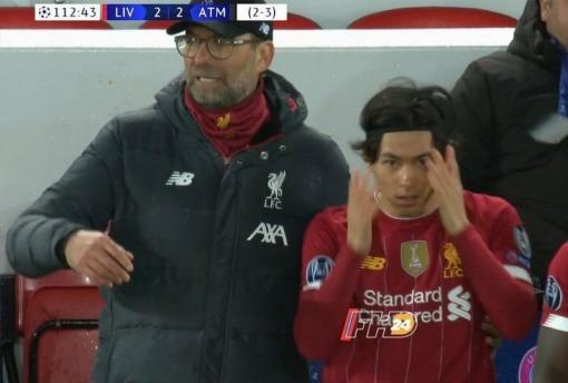 Klopp to minamino Liverpool 2-3 Atletico UCL