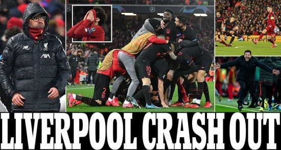 Liverpool crash out 2-3 Atletico UCL