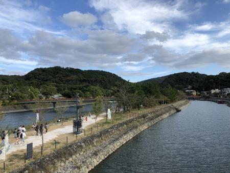ぴーきち&ダイナ ハーレーで行く 宇治観光 宇治川 中の島